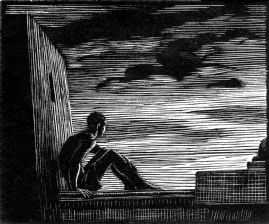 wood-engraving original print: The Watchman 1 for The Orestian Trilogy for Aeschylus